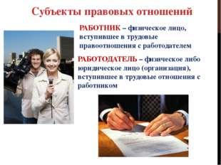 Субъекты правовых отношений РАБОТНИК – физическое лицо, вступившее в трудовые