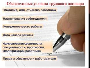 Обязательные условия трудового договора Фамилия, имя, отчество работника Наим