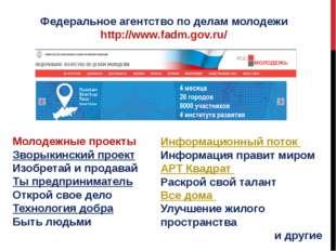Федеральное агентство по делам молодежи http://www.fadm.gov.ru/ Молодежные пр