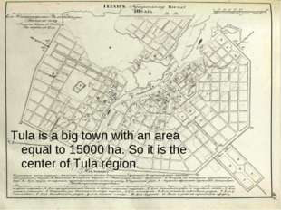 Tula is a big town with an area equal to 15000 ha. So it is the center of Tul