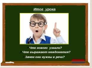 Итог урока Что нового узнали? Что выражают междометия? Зачем они нужны в речи?