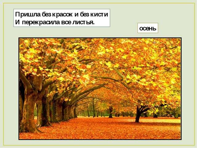 Пришла без красок и без кисти И перекрасила все листья. осень