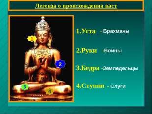 Легенда о происхождении каст 1 2 3 4 1.Уста 2.Руки 3.Бедра 4.Ступни - Брахман