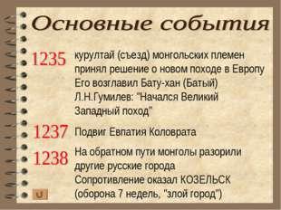 курултай (съезд) монгольских племен принял решение о новом походе в Европу Ег