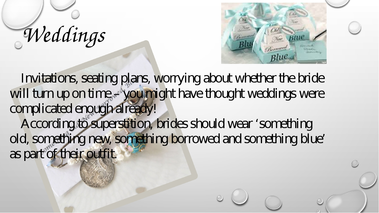 Weddings Invitations, seating plans, worrying about whether the bride will tu...
