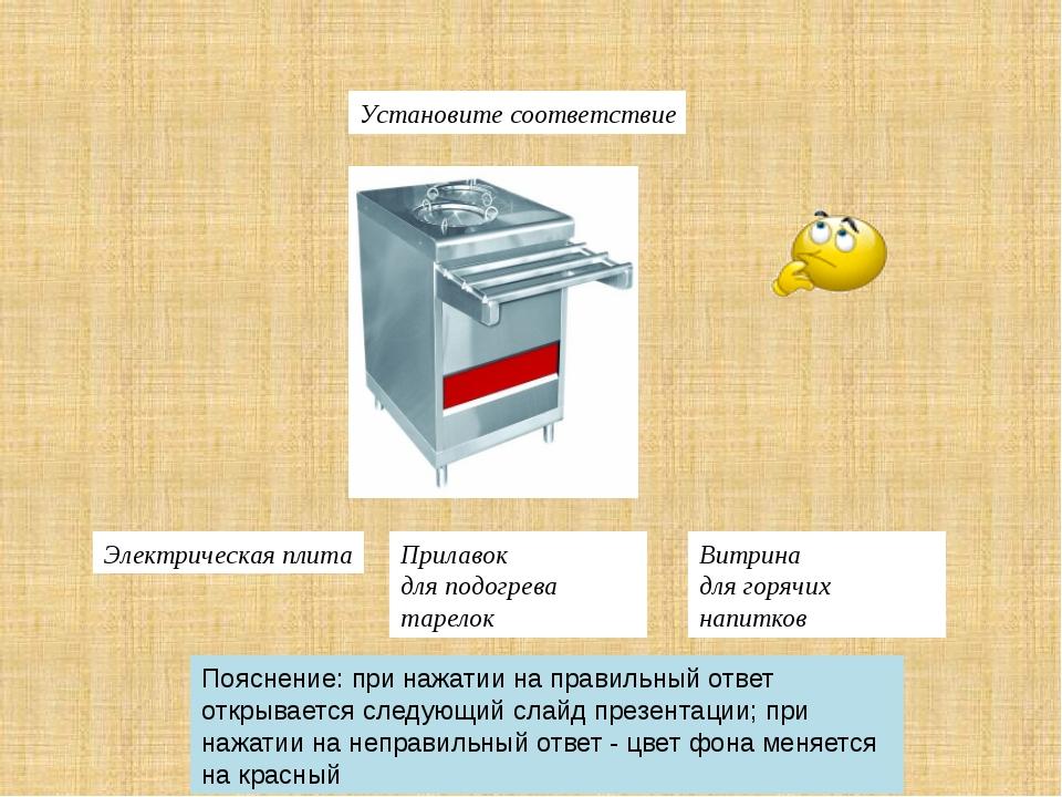 Установите соответствие Витрина длягорячих напитков Электрическая плита Прил...
