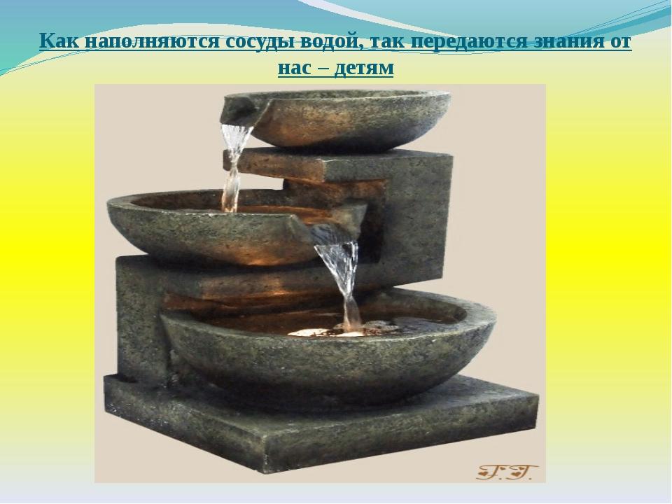 Как наполняются сосуды водой, так передаются знания от нас – детям