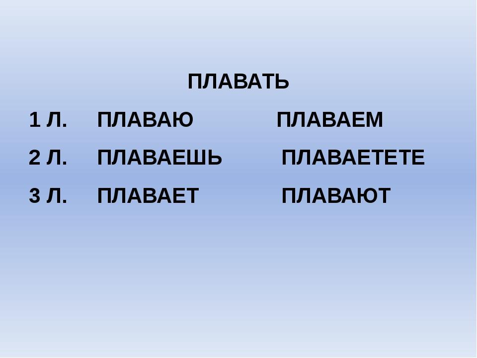 ПЛАВАТЬ 1 Л. ПЛАВАЮ ПЛАВАЕМ 2 Л. ПЛАВАЕШЬ ПЛАВАЕТЕТЕ 3 Л. ПЛАВАЕТ ПЛАВАЮТ