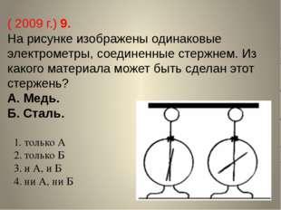 ( 2009 г.) 9. На рисунке изображены одинаковые электрометры, соединенные стер