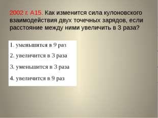 2002 г. А15. Как изменится сила кулоновского взаимодействия двух точечных зар