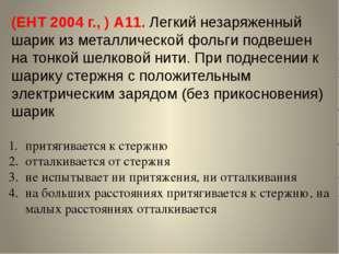 (ЕНТ 2004 г., ) А11. Легкий незаряженный шарик из металлической фольги подвеш