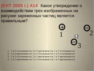 (ЕНТ 2005 г.) А14. Какое утверждение о взаимодействии трех изображенных на ри