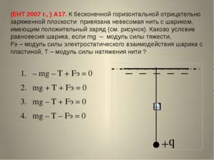 (ЕНТ 2007 г., ) А17. К бесконечной горизонтальной отрицательно заряженной пло