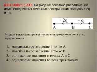 (ЕНТ 2008 г., ) А17. На рисунке показано расположение двух неподвижных точечн