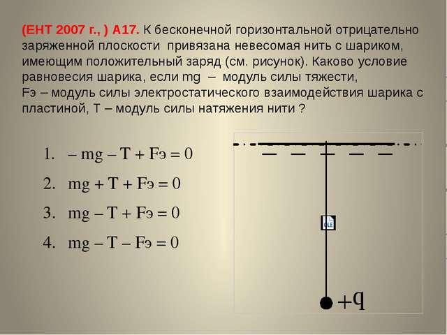 (ЕНТ 2007 г., ) А17. К бесконечной горизонтальной отрицательно заряженной пло...