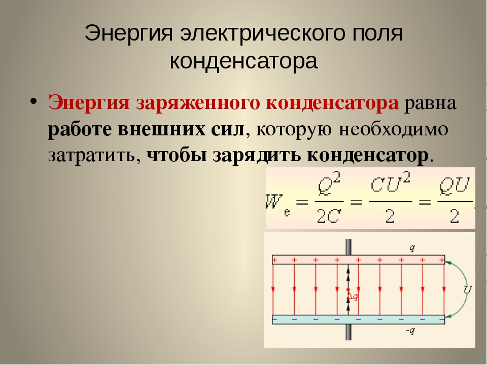 Энергия электрического поля конденсатора Энергия заряженного конденсатора рав...