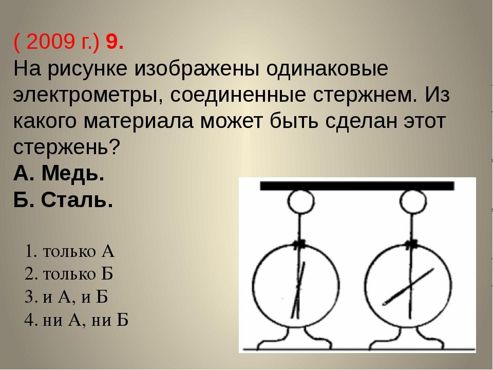 ( 2009 г.) 9. На рисунке изображены одинаковые электрометры, соединенные стер...