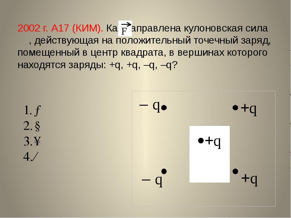 2002 г. А17 (КИМ). Как направлена кулоновская сила , действующая на положител...