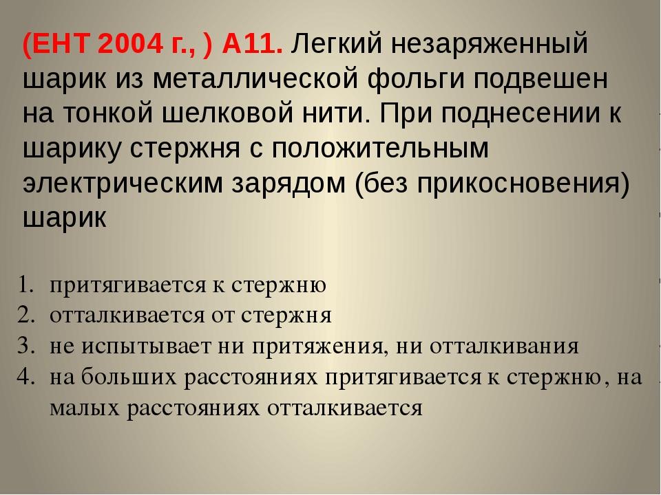(ЕНТ 2004 г., ) А11. Легкий незаряженный шарик из металлической фольги подвеш...