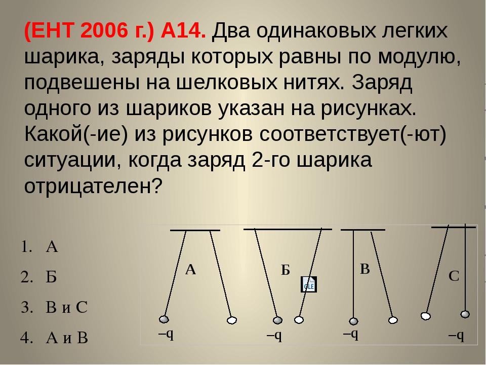 (ЕНТ 2006 г.) А14. Два одинаковых легких шарика, заряды которых равны по моду...