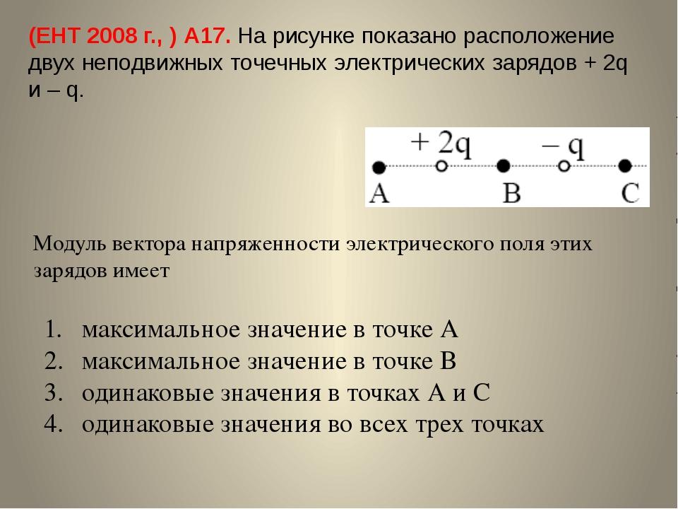 (ЕНТ 2008 г., ) А17. На рисунке показано расположение двух неподвижных точечн...
