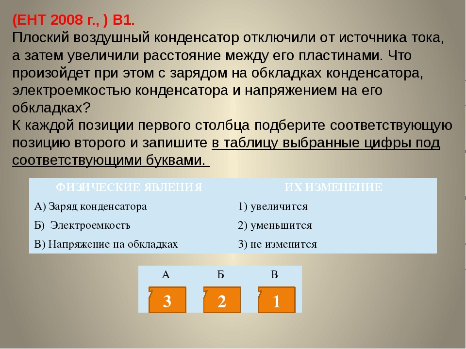 (ЕНТ 2008 г., ) В1. Плоский воздушный конденсатор отключили от источника тока...