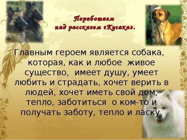 Поработаем над рассказом «Кусака». Главным героем является собака, которая, к...