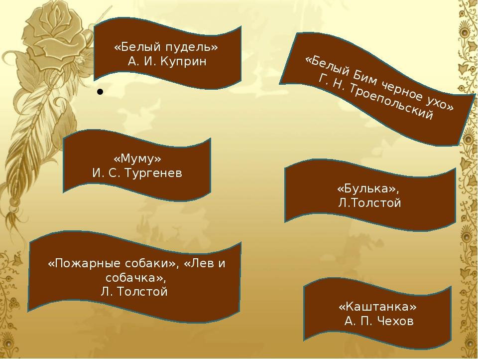 «Белый пудель» А. И. Куприн «Белый Бим черное ухо» Г. Н. Троепольский «Муму»...
