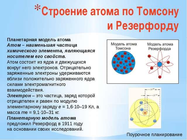 Строение атома по Томсону и Резерфорду Планетарная модель атома Атом – наимен...