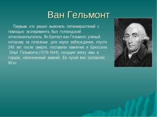 Ван Гельмонт  Первым, кто решил выяснить питаниерастений с помощью