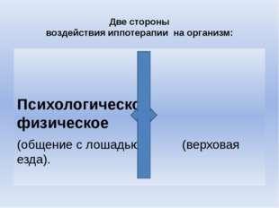 Две стороны воздействия иппотерапии на организм: Психологическое физическое (