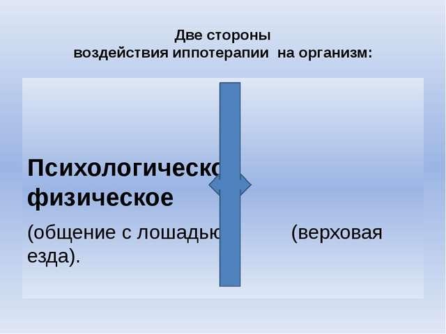 Две стороны воздействия иппотерапии на организм: Психологическое физическое (...