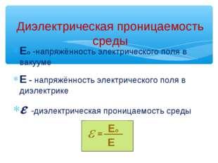 Ео -напряжённость электрического поля в вакууме Е - напряжённость электрическ