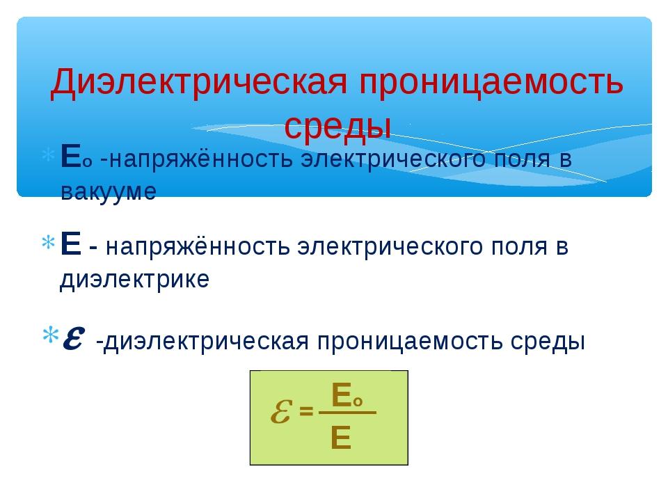 Ео -напряжённость электрического поля в вакууме Е - напряжённость электрическ...