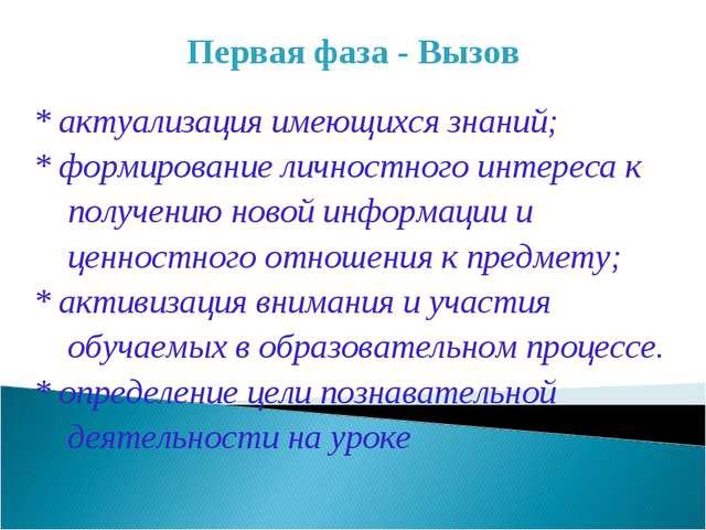 Первая фаза - Вызов * актуализация имеющихся знаний; * формирование личностно...