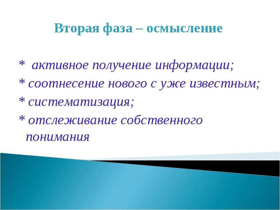Вторая фаза – осмысление * активное получение информации; * соотнесение новог...