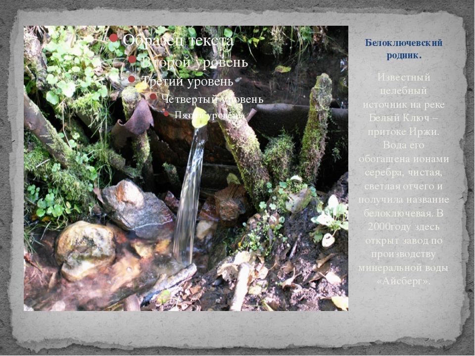 Известный целебный источник на реке Белый Ключ – притоке Иржи. Вода его обога...
