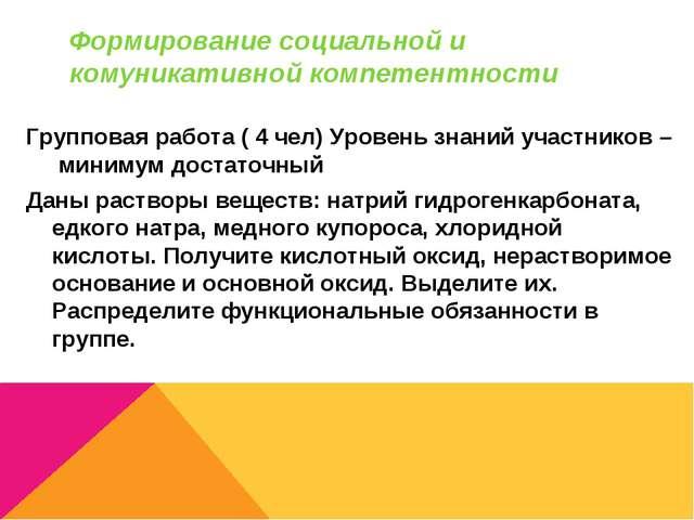 Формирование социальной и комуникативной компетентности Групповая работа ( 4...