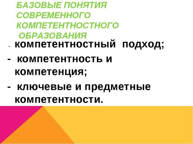 БАЗОВЫЕ ПОНЯТИЯ СОВРЕМЕННОГО КОМПЕТЕНТНОСТНОГО ОБРАЗОВАНИЯ - компетентностный...