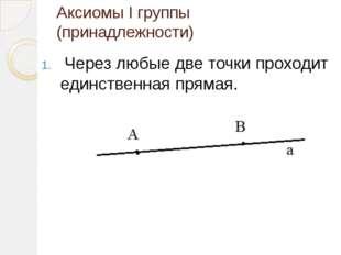 Аксиомы I группы (принадлежности) Через любые две точки проходит единственная