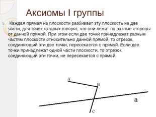 Аксиомы I группы Каждая прямая на плоскости разбивает эту плоскость на две ча