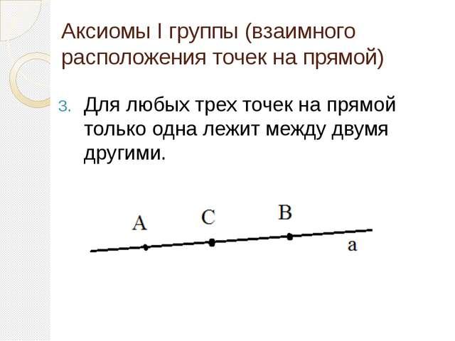 Аксиомы I группы (взаимного расположения точек на прямой) Для любых трех точе...
