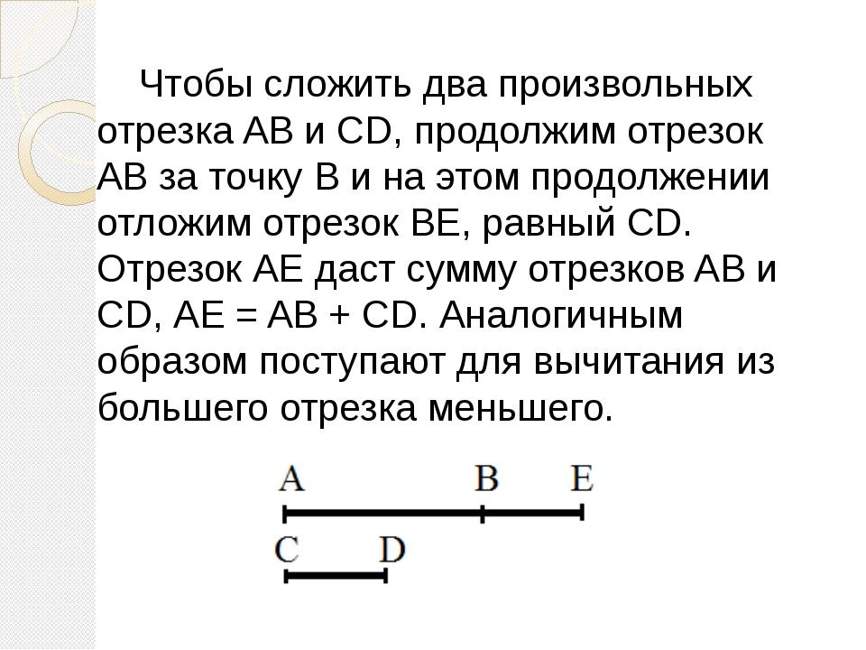 Чтобы сложить два произвольных отрезка AB и CD, продолжим отрезок АВ за точк...
