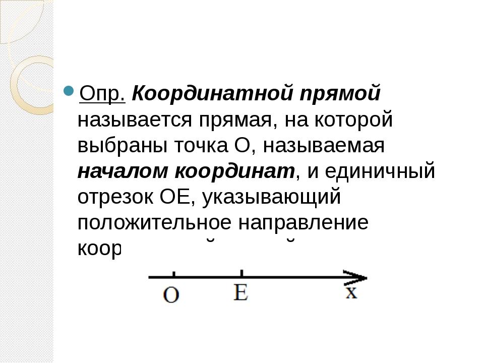 Опр. Координатной прямой называется прямая, на которой выбраны точка О, назы...