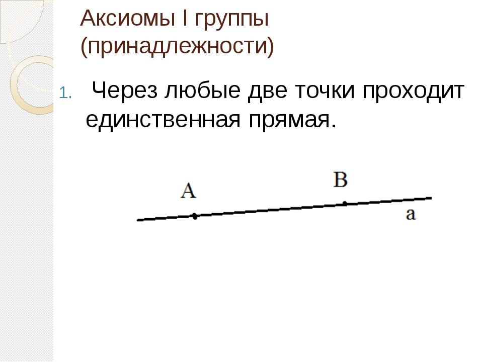 Аксиомы I группы (принадлежности) Через любые две точки проходит единственная...