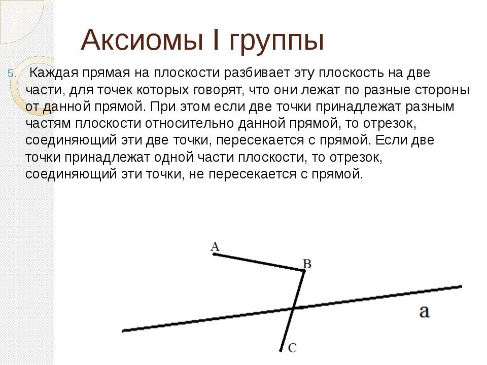 Аксиомы I группы Каждая прямая на плоскости разбивает эту плоскость на две ча...
