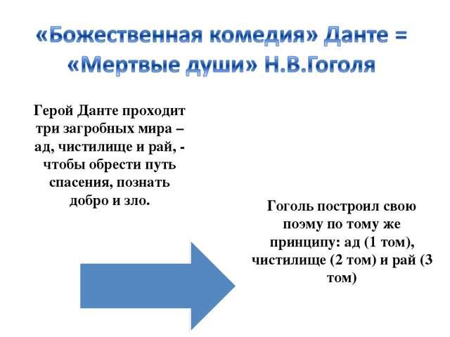 Гоголь построил свою поэму по тому же принципу: ад (1 том), чистилище (2 том)...