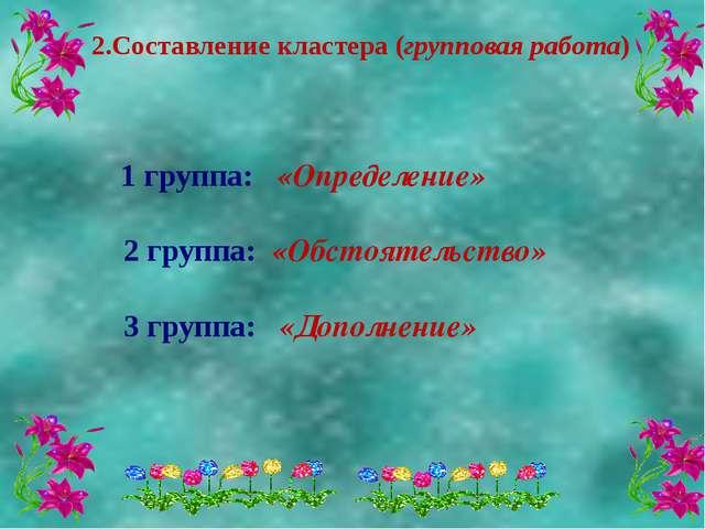 2.Составление кластера (групповая работа) 1 группа: «Определение» 2 группа:...