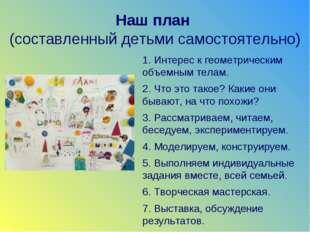 Наш план (составленный детьми самостоятельно) 1. Интерес к геометрическим объ