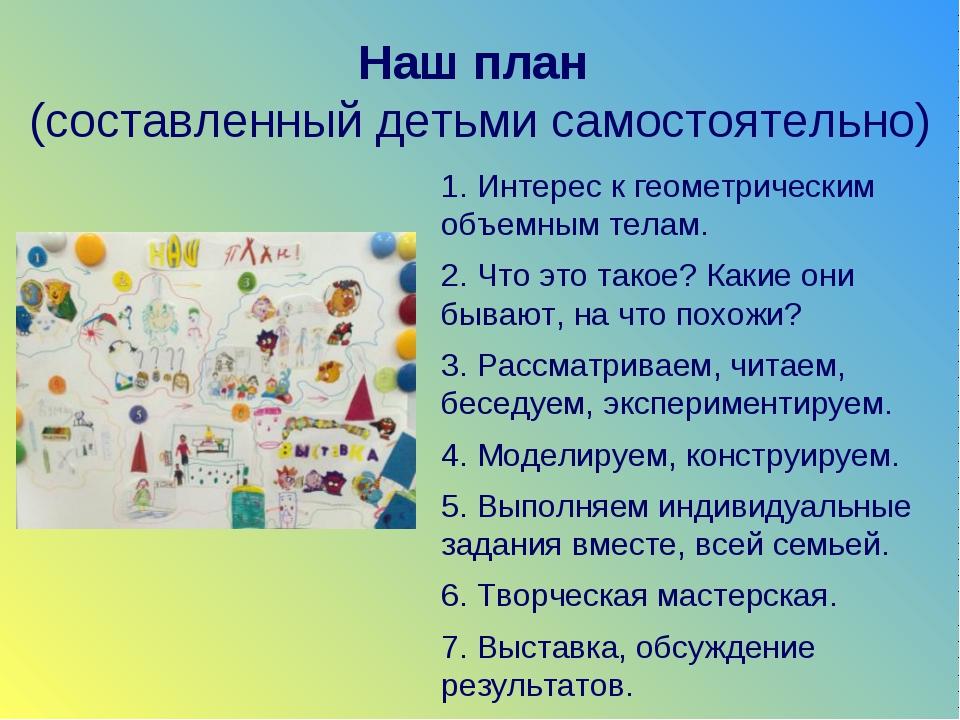 Наш план (составленный детьми самостоятельно) 1. Интерес к геометрическим объ...